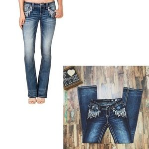 MISS ME   Bling Embroidered Bootcut Jeans   25